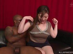 Black dude destroys wet pussy of Nishiyama Asahi without mercifulness