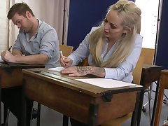 Louise Lee enjoys a threesome in dramatize expunge office with horny friends
