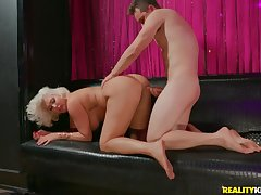 Super fat ass on a cock riding blonde old woman