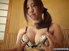 Hadncuffed son exotic Japan Yui Shiina gets her wet pussy teased a personify