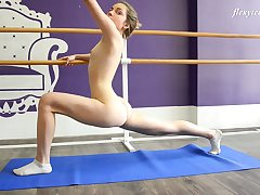 Zealous tractable hottie Julia Fiatal flashes tits and nice touch someone for as A she does stretching