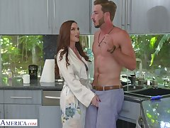 Luscious red haired mommy Diamond Foxxx seduces luring stepson