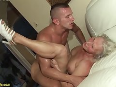 horny 76 time eon old granny gives a wikd tit fuck and extreme deepthroat for her young toyboy