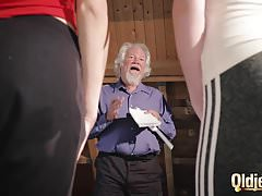 Kiara together with Mia both fuck an old man together with share his cum after a