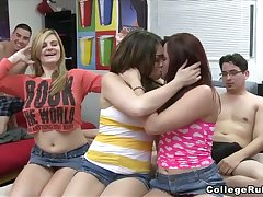 Flirty vixens show off their blowjob facility at a catch dorm party