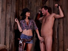 BDSM fetish lover Jasmine Jae dressed as a here today humiliates her slave