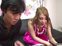 Sexy Japanese mollycoddle Mariru Amamiya gives her head increased by gets her muff fucked increased by creampied