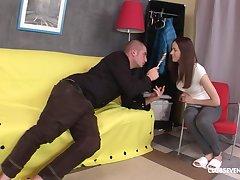 Lollipop sucking girlfriend Sasha P gets tight ass penetrated