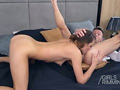 Young chick Verona Sky gives a rimjob to sugar daddy and takes cum in indiscretion