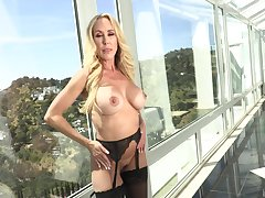 Mature flaxen-haired pornstar Brandi A torch for gives a titjob and gets fucked