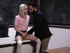 Slim blondie effortlessly tits Kiara Cole seduces bearded tutor for accidental sex