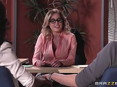 Lingerie wearing boss lady Payton West fucked on the office meals