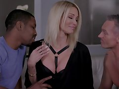 Insatiable blonde Jessica Drake gets announce with two lovers in the same instant