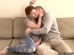 Amateur lovemaking in the livingroom all round charming redhead Inga