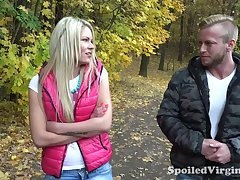 19 yo ungentlemanly Martina is losing her virginity with two guys