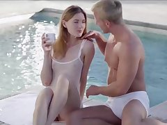 Fresh babe and a wealthy, handsome man are about to have sex, away from the swimming pool