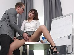 Secretary Katty Blessed drops on her knees to please her VIP