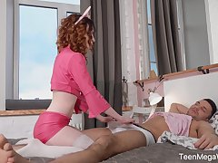 Ginger teen Lottie Magne gives her hound and gets her pussy fucked and creampied