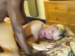 Blonde sickly woman alongside black man Hardcore Interracial