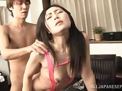 Handsome Japanese chick in port side lingerie gets fucked immigrant behind