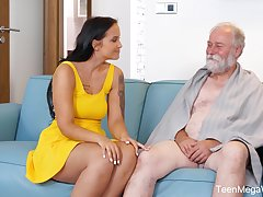 An pater is seduced by a tall curvy young woman and that coddle loves sex