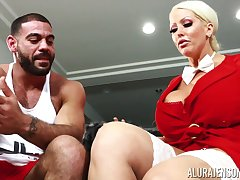Housewife with king size boobs Alura Jenson bangs husband's discrete trainer