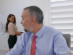 Secretary wants the boss's huge dick round both her tiny holes