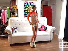 Leggy teen with nice arse Carmen Rae gets undecorated in front of the camera
