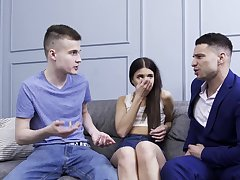 Sweetie tries fucking with two lads at along to same epoch