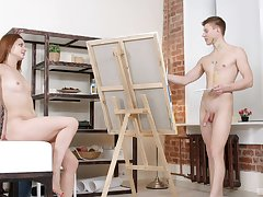 Nude model Lila West ends up fucking a young male artist