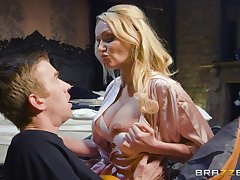 Educated MILF Amber Jayne knows how to give excuses a young man smile