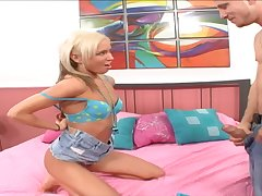 Blonde model Kacey Jordan gets her pussy and mouth fucked