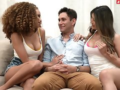 Curly haired ebony and imperceptive Asian in mutual horseshit sharing XXX