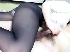 Black Pantyhose Prospect Sitting Handjob Ejaculation