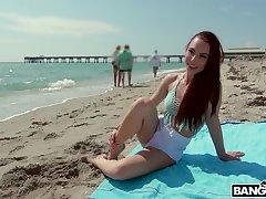 Redhead girlfriend Aidra Fox enjoys having outdoors sex with her BF
