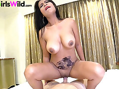 Thai slut with big natural gut takes my bushwa gaping void