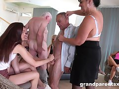 Older folks eagerly come together be worthwhile for kinky group fucking fun
