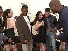 Wild interracial double penetration group sexual intercourse with Niki Dark