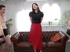 Smoking hot Japanese chick having fun involving more cocks in request
