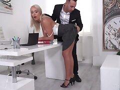Off colour blonde secretary seduces two bosses to take double penetration