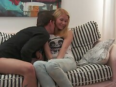 Boy with thimbleful pants makes a pass at pulling prude girl wit spot on target perky ninnies