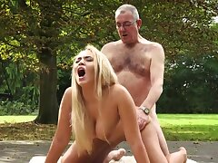 Russian beauty with big play the part boobies Briana Bounce is fucked outdoor